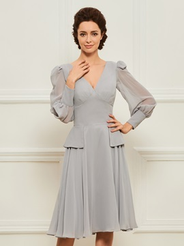 Knee-Length Mother of the Bride Dress with Long Sleeves