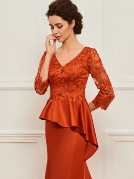Ruffles Appliques Mother of the Bride Dress with Sleeves