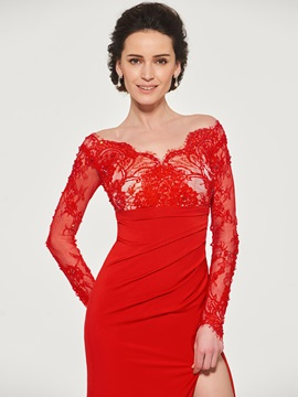 Long Sleeve Beading Lace Mother of the Bride Dress
