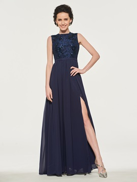 Split-Front Sequins Lace Mother of the Bride Dress