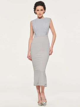 Pleats Tea-Length Sheath Mother of the Bride Dress