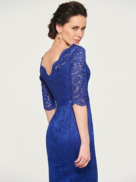 Half Sleeves Sheath Lace Short Mother of the Bride Dress