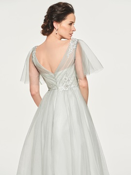 Short Sleeves Appliques Pleats Mother of the Bride Dress