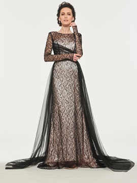 Long Sleeve Lace Mother of the Bride Dress with Train