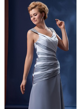 Beaded Sleeveless V-Neck A-Line Alina's Mother of the Bride Dress With Jacket/Shawl