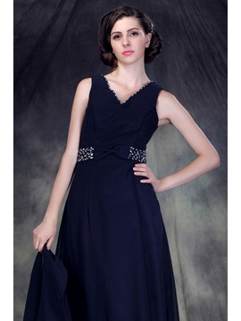 Beading A-Line V-Neck Floor-Length Anderai's Mother of the Bride Dress With Jacket/Shawl