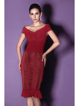 Delicate Lace Sheath Off-the-Shoulder Knee-Length Taline's Mother of the Bride Dress