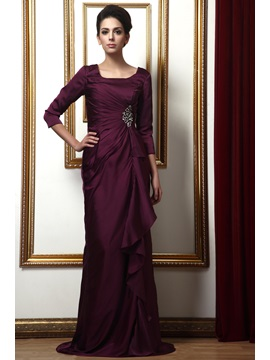 Delicated Draped Sequins A-Line Square 3/4-Sleaves Long Taline's Mother of the Bride Dress