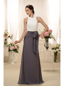 Straps Flower Pleats Sashes Long Bridesmaid Dress & unusual Free Shipping Sale