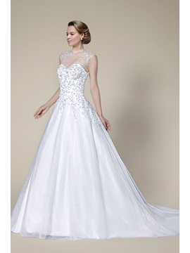 Graceful Beading Applique Zipper-Up A-Line Court Train Wedding Dress & attractive Free Shipping Sale