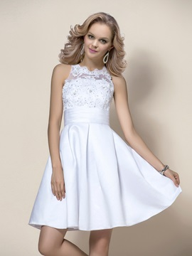 Stunning Beaded Bateau Neck A-Line Short Wedding Dress & casual Free Shipping Sale