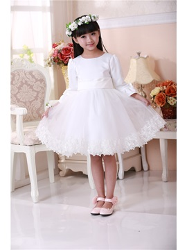 Cute Scoop Bowknot Sash Knee Length Long Sleeves Flower Girls Dress & amazing Free Shipping Sale