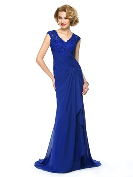 Beaded Lace V-Neck Chiffon Blue Long Mother of the Bride Dress & vintage style Free Shipping Sale