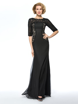 Black Long Lace Mother of the Bride Dress with Sleeves & simple Free Shipping Sale