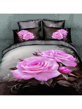 Romantic Blooming Pink Rose 4-Pieces Bedding Set