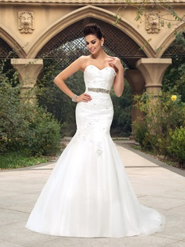 Dazzling Sweetheart Beaded Lace Appliques Mermaid Wedding Dress & fashion Free Shipping Sale