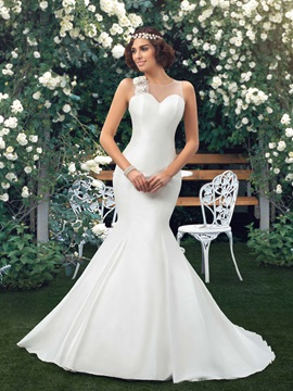 Dazzling Sweetheart Bowknot Floral Ivory Mermaid Wedding Dress & Free Shipping Sale for sale