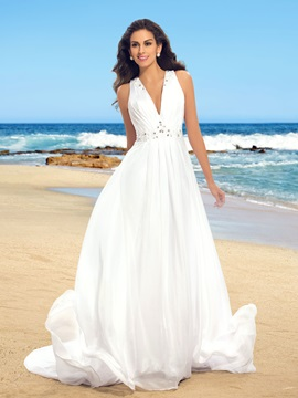 Hot Sale Sheer Back Beaded V-Neck Button Beach Wedding Dress & colored Free Shipping Sale