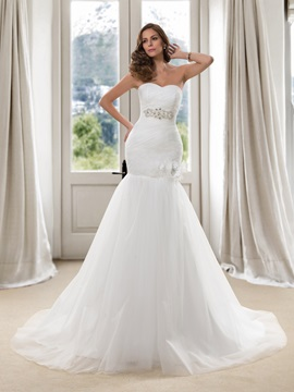 Eye-catching Beaded Sweetheart Ruched Trumpet Wedding Dress & colorful Free Shipping Sale
