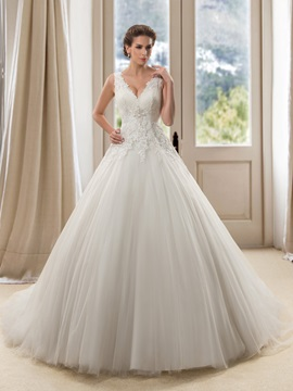 Eye-catching Lace V-Neck Floor Length A-Line Wedding Dress & fairytale Free Shipping Sale