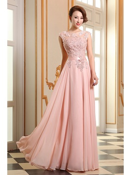 Eye-catching Scoop Neck Appliques Lace-up Long Prom Dress & Free Shipping Sale 2012