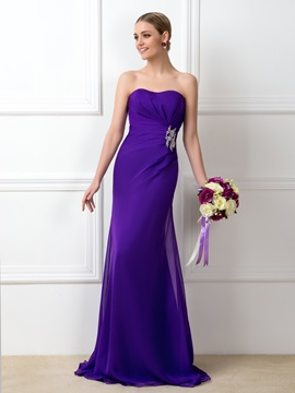 Eye-catching Ruched Beaded Sweetheart Purple Long Bridesmaid Dress & vintage Free Shipping Sale
