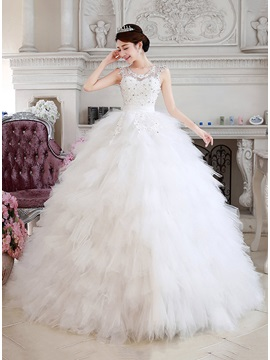 Beaded Jewel Neck Ruffles Tulle Princess Wedding Dress & modest Free Shipping Sale