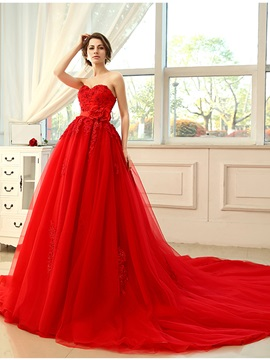 Floor Length A-Line Strapless Sweetheart Lace Appliques Red Wedding Dress & petite Free Shipping Sale