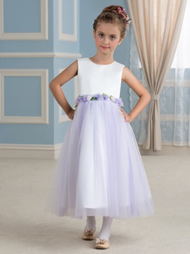Fancy Floral Waistband Purple Tulle Flower Girl Dress for Toddlers & attractive Free Shipping Sale