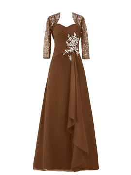 Spaghetti Straps Floor-Length Chiffon Mother of the Bride Dress with Lace Jacket & colorful Free Shipping Sale