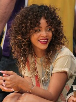 Rihanna Medium Curly Lace Front Synthetic Hair Wig
