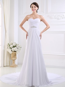 Ruched Sweetheart Ivory Chiffon Beach Wedding Dress & affordable Free Shipping Sale
