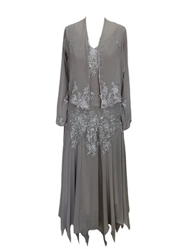 V-Neck Appliques Plus Size Mother of the Bride Dress with Long Sleeves Jacket & Free Shipping Sale 2012