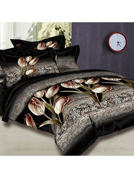 Dance of Tulips 4 Piece 100% Cotton Bedding Sets