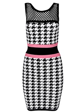 Sheath/Column Scoop Neck Check Little Party Dress