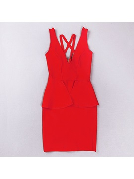 Classy Cool Red Column Short Little Party Dress