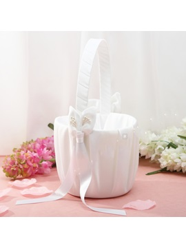 Beautiful White Flower Basket in Satin With Bow