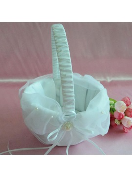 Beautiful Flower Basket in & Lace With Faux Pearl
