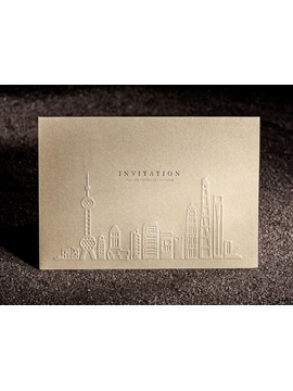 Building Imprint Personalized 3D Folding Wedding Invitations (20 Pieces One Set)