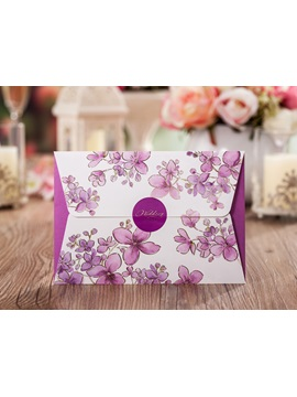 Floral Imprint Purple Wedding Invitations (20 Pieces One Set)