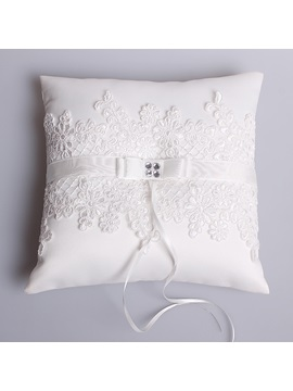 Lace Appliques Satin Wedding Ring Pillow