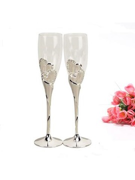 Cool Silver-Plated Glass Toasting Flutes(Set of 2)