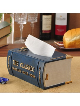 New Fine Vintage Book Shape Resin Tissue Box