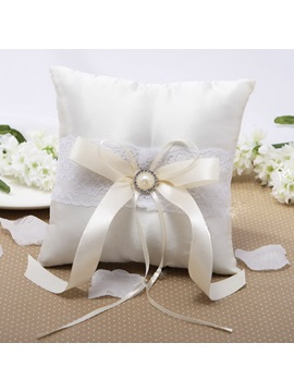 Vigorous Ring Pillow in Satin With Rhinestones