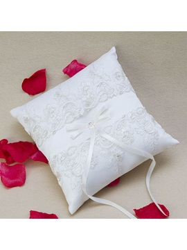 Embroidery Net Bowknot Ring Pillow