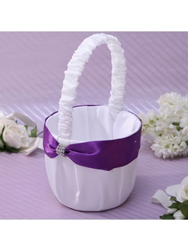 Flower Basket in Satin With Rhinestones