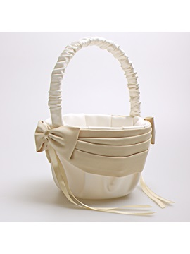 Simple Pleated Satin Flower Girl Basket