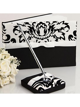 Damask Design Wedding Guest Book and Pen Set in Satin With Ribbon