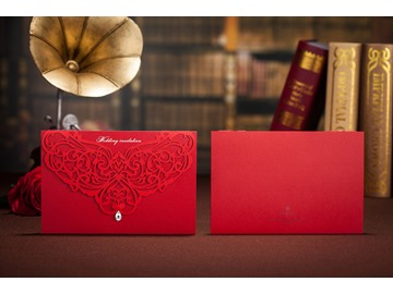 Floral Style Side Fold Red Wedding Invitation Cards (20 Pieces One Set)