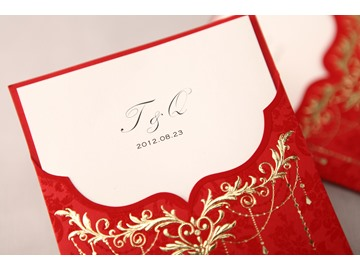 Classic Style Red Wrap & Pocket Wedding Invitation Cards (20 Pieces One Set)